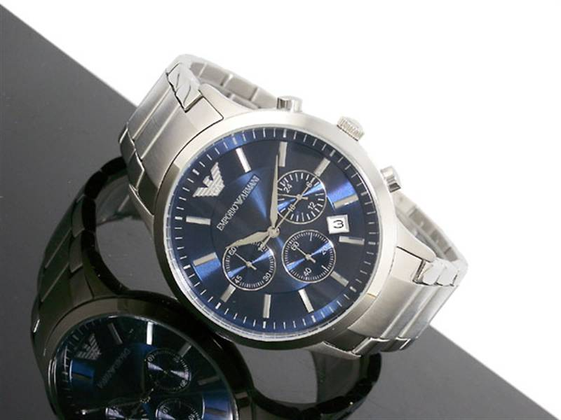 cbd09b3036b Emporio Armani AR2448 - Mens Blue Dial Classic Chronograph Watch ...