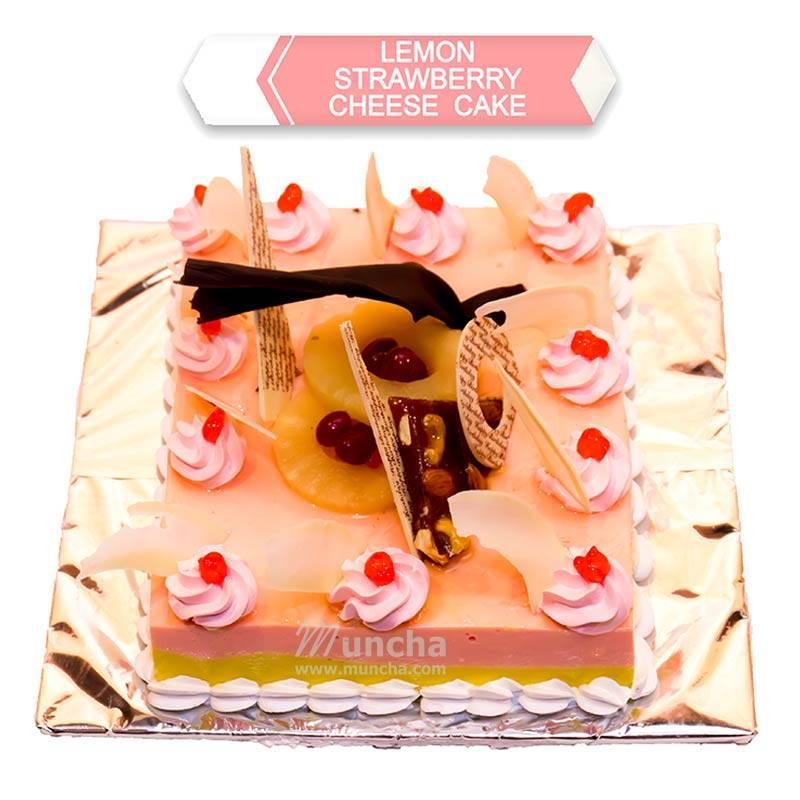 Lemon & Strawberries Cake (1 Kg) from Hotel Barahi (HBCP0012)