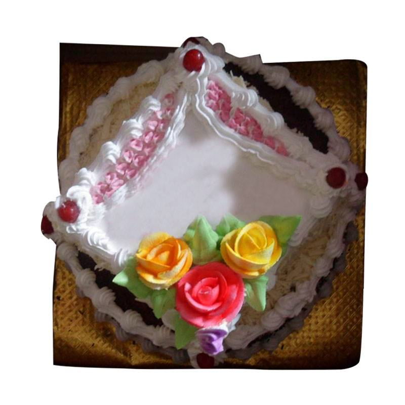 Double Decker Cake in Black forerst and White Forest (1.5 Kg) from Paudel Bakery(CKHTD016)