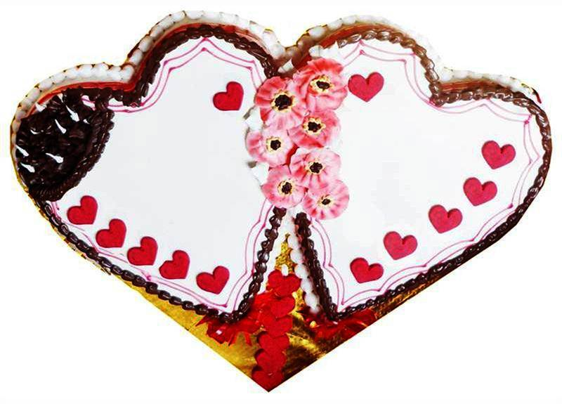 Double Heart Chocolate and Vanilla Cake (2 Kg) from Hamro Bakery (CHT011)