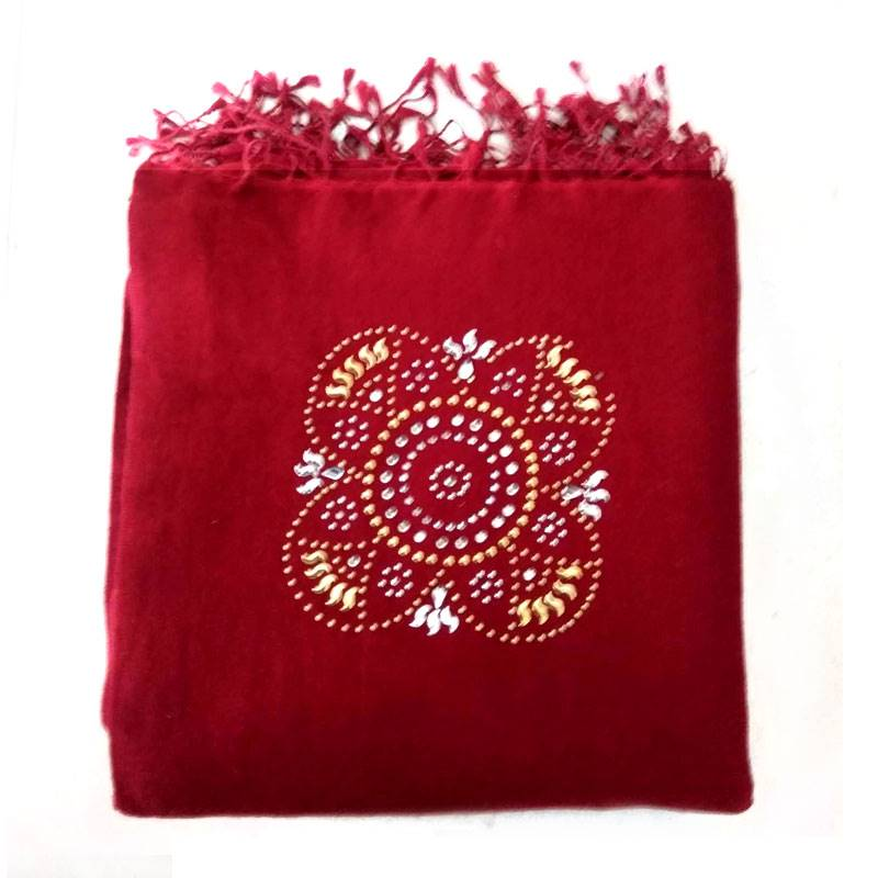 Maroon Silk Pashmina with Mandala Design