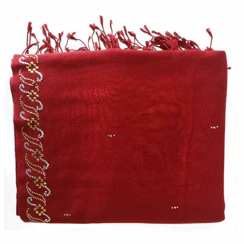Maroon Silk Pashmina with Border