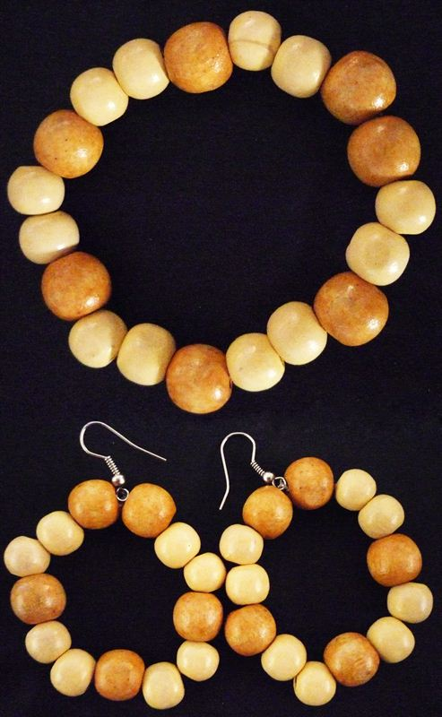 Wooden Beads Set with  Earring & Bracelet