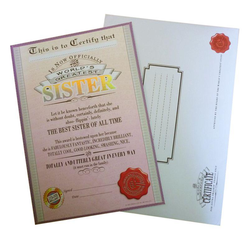 Sister Certificate