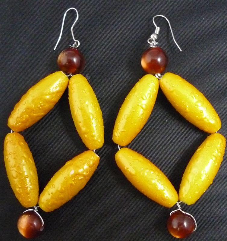 Yellow Beads Earring