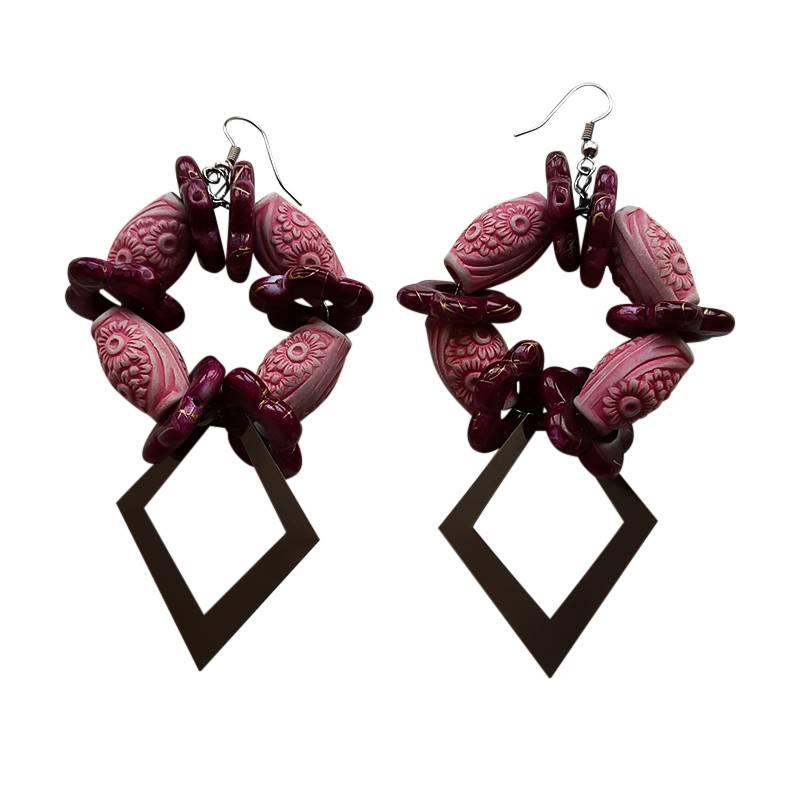 Purple Beads Earring