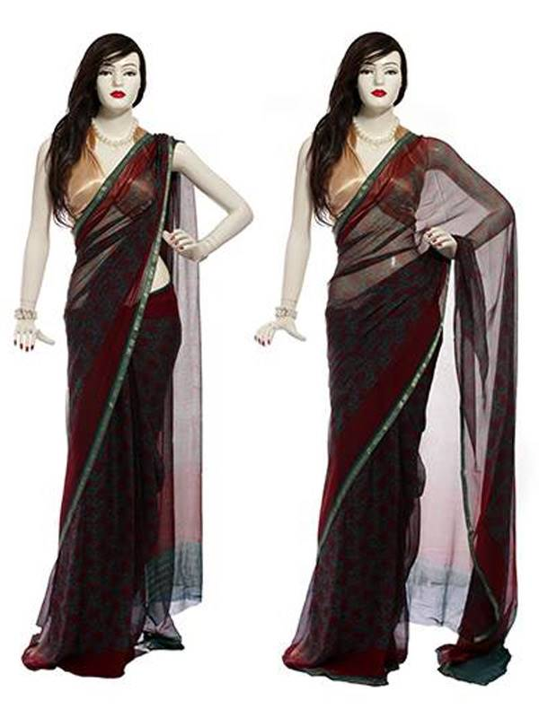 Chamunda Printed Chiffon Saree with Zari Weaved Border (MISR0051)