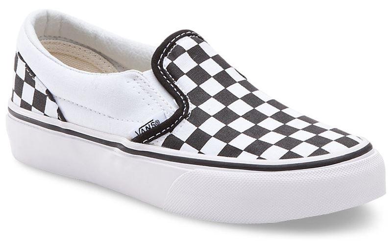 5b3fea8bf370 Vans Classic Slip-On Checkerboard Black True White Kids Shoe (901295 ...
