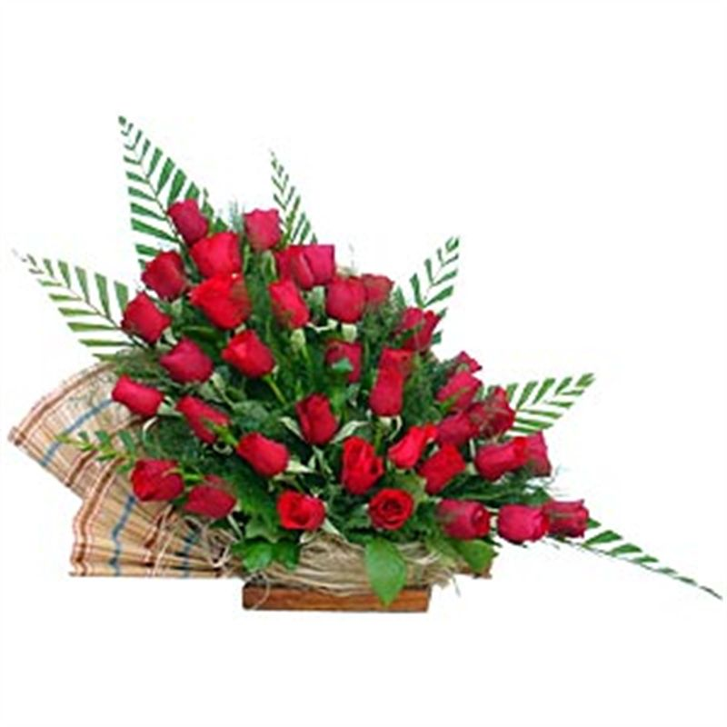 Dutch Roses Arranged in a Madhur Basket