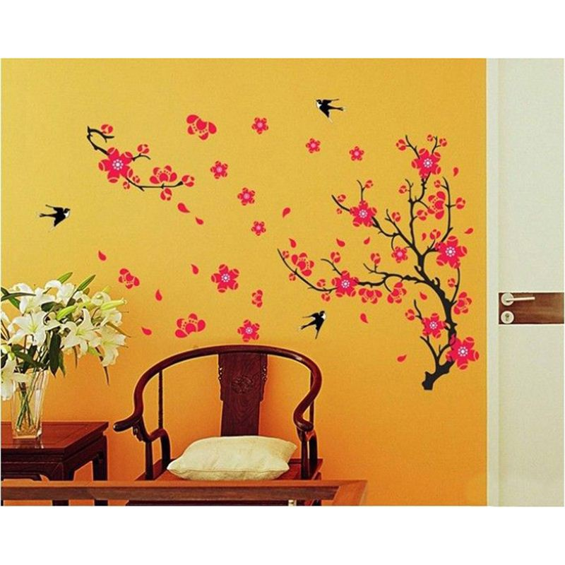 flowers with branch wall stickers - send gifts and money to nepal