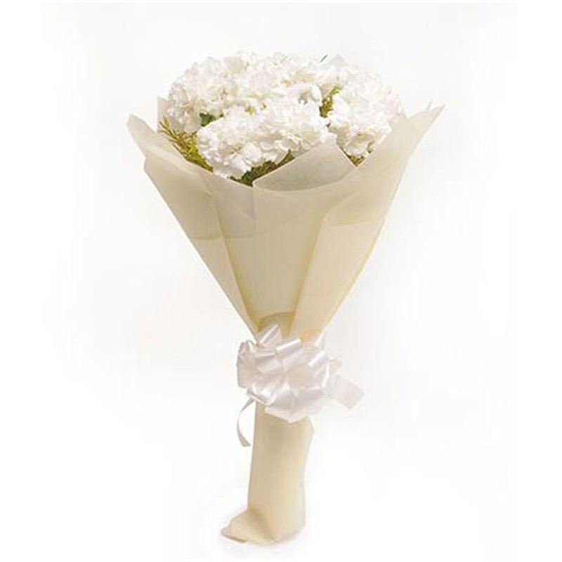 10 White Carnations with White Paper Packing by FNP