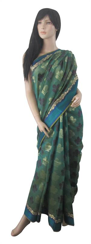 Handloomed Cotton Sari (EWN) (SARI0045)