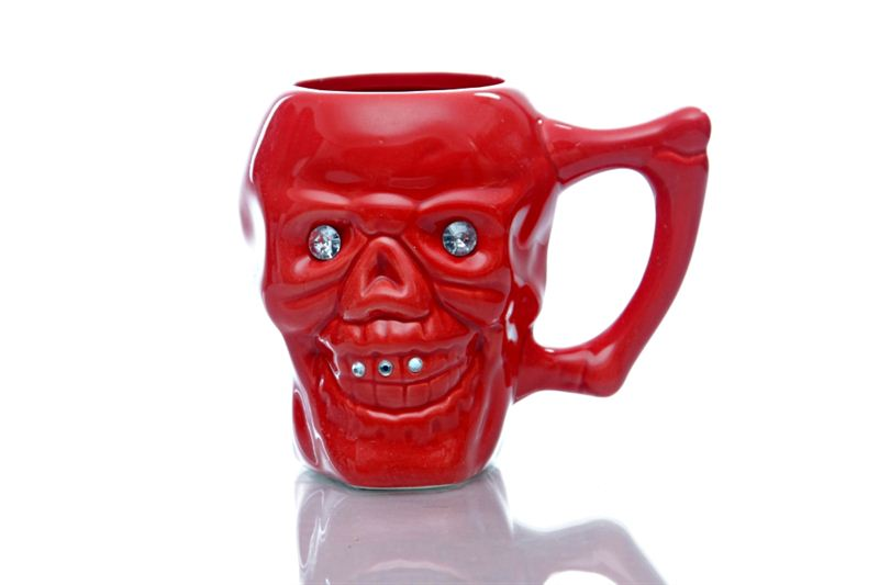 Skull Designed Red Ceramic Mug (Qty 1)