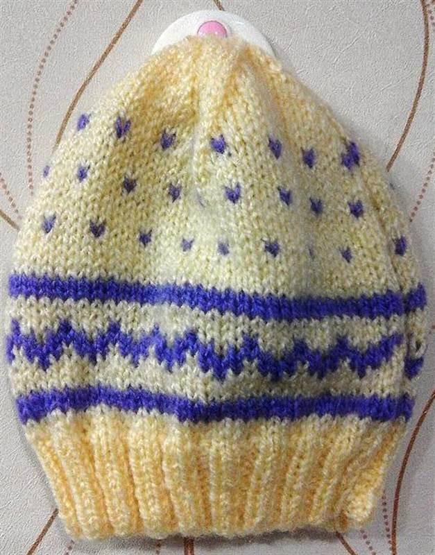 984d2cf433d Newborn Baby Hat Hand Knitted Crochet Woolen Caps Cream (Till 1 years)