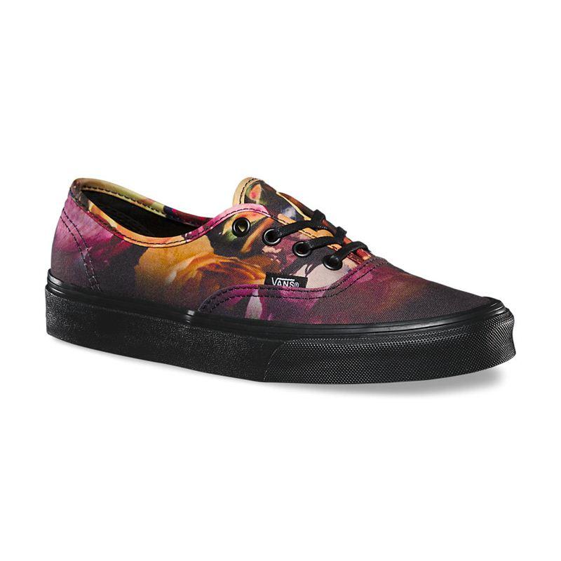 f441bc02f99 Vans Authentic (Ombre Floral) Black Black Women s Shoes (901437 ...