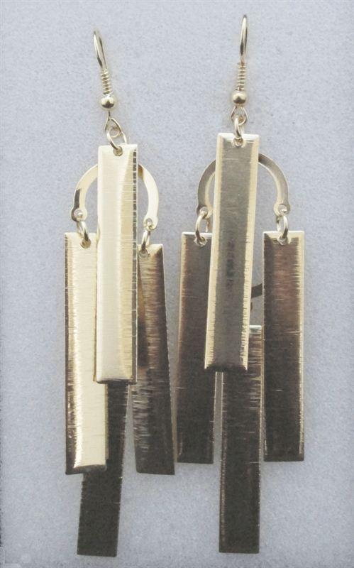 3 Layers Long  Shaped Golden Earring (FERG032)