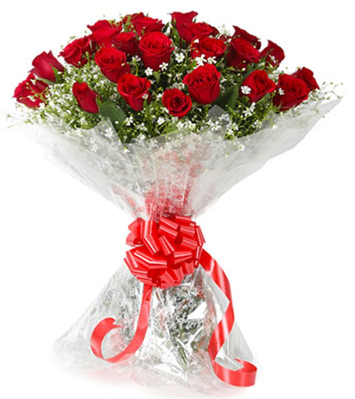 20 Red Roses with Cellophane Packing by FNP