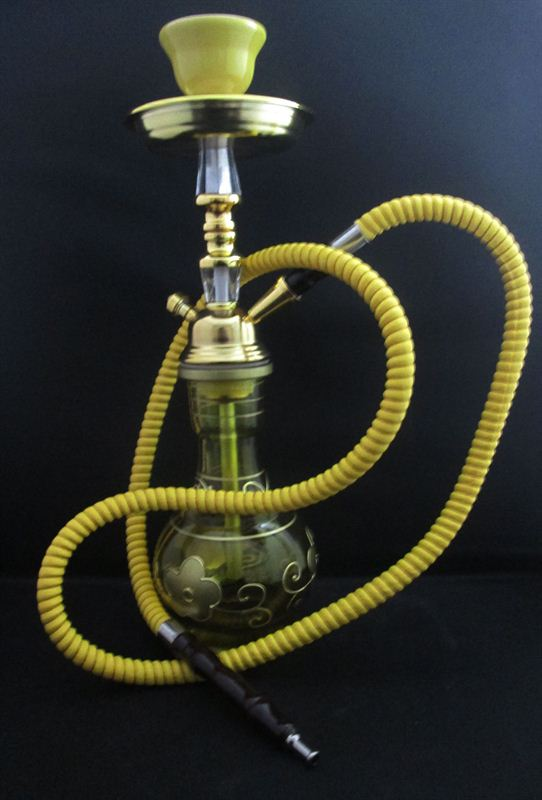 Yellow Golden Floral Hookah (4.5incx15.5inc)(74A)