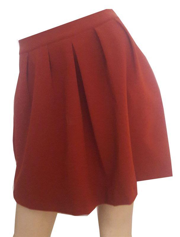Back Zipped Orange Skirt (CR0315-SK010)