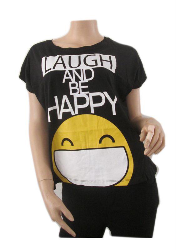 Black Laugh and Be happy Tshirt (007)
