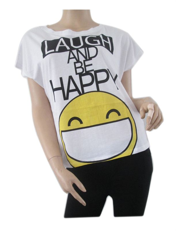 White Laugh and Be happy Tshirt (007)