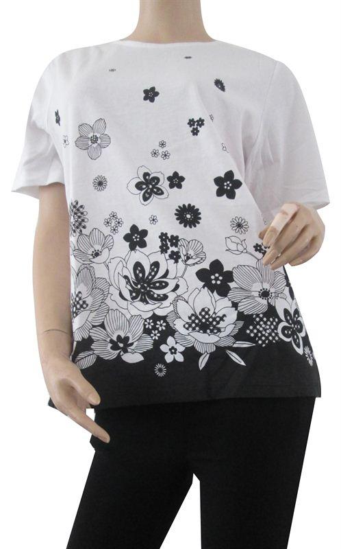 Black Floral Print Tee (054-Black)