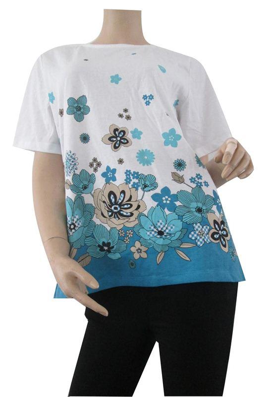 Aqua Floral Print Tee(054-Aqua)