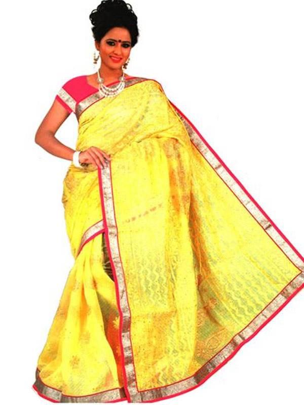 Lakhanvu Cotton Saree With Thread & Swarovski Work And Golden Border And Matching Blouse Piece (16SU132)