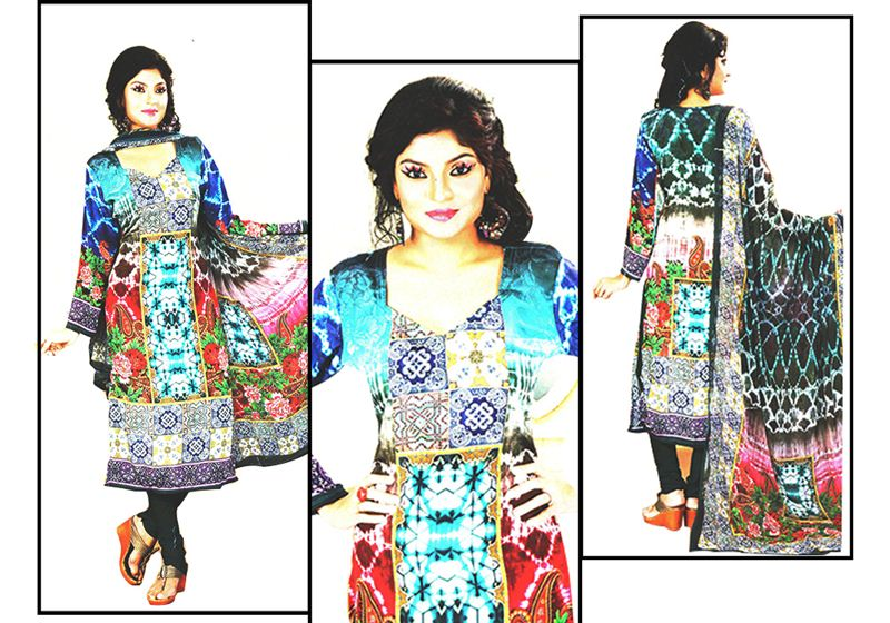 Floral Printed Kurta Piece with Shawl (16SU166)