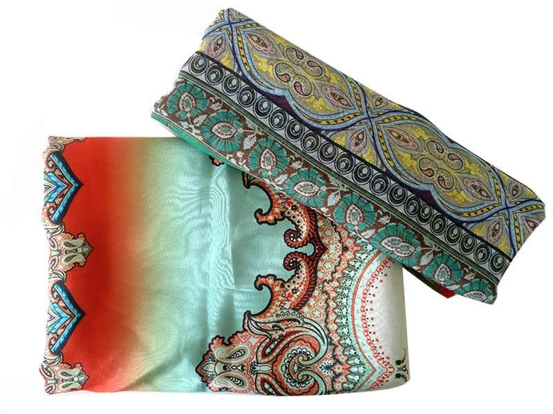 Floral Printed Kurta Piece with Shawl (16SU174)