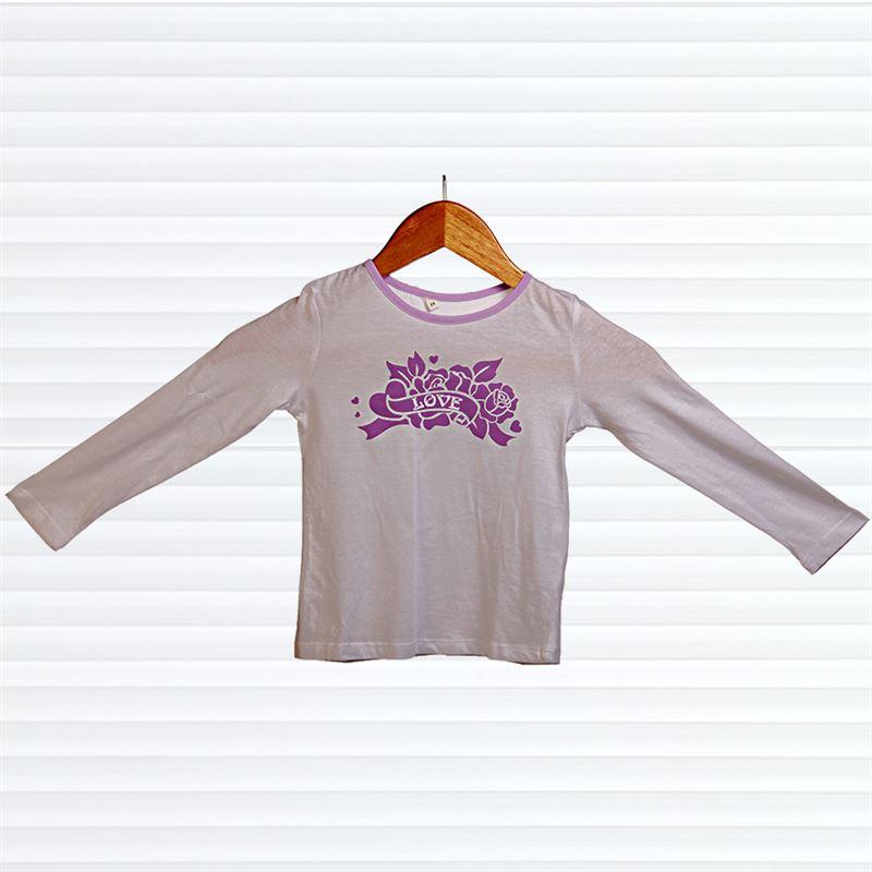 Purple Love Printed White Top (060) (2-3 Years)