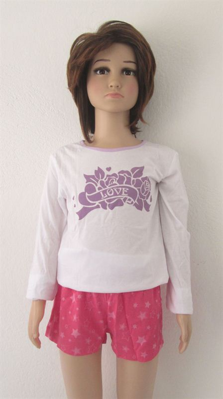 Purple Love Printed White Top (060) (4-5 Years)