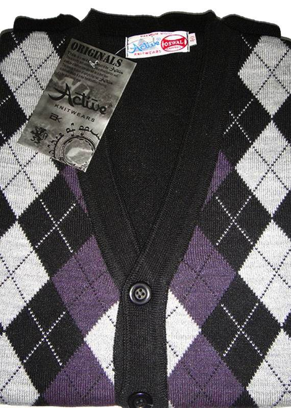 614795563d24 Oswal Active Scottish Check Cardigan SL Sweater from Nepal Wool ...
