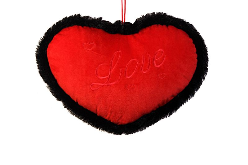Black Bordered Red Heart Shaped Cushion (26)