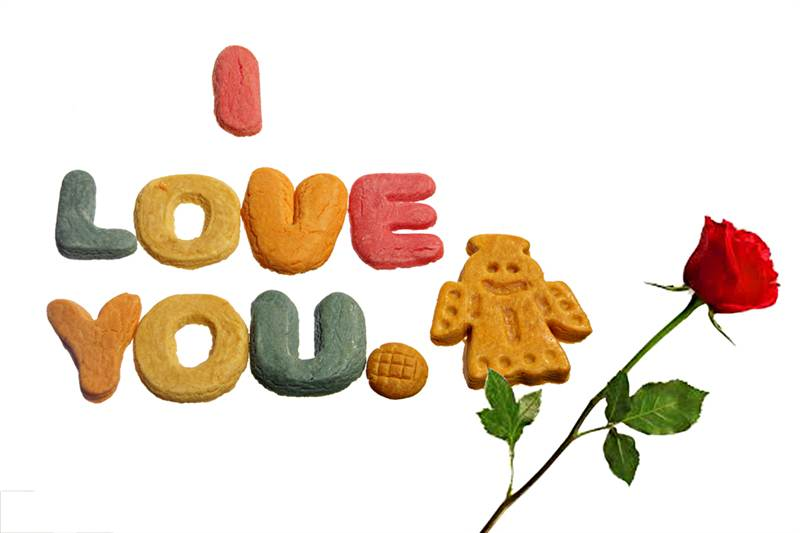 Hand made I Love you Biscuits.
