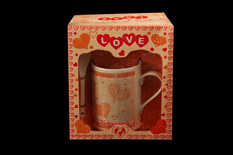 Orange Heart Printed Ceramic Cup with Spoon (20520)