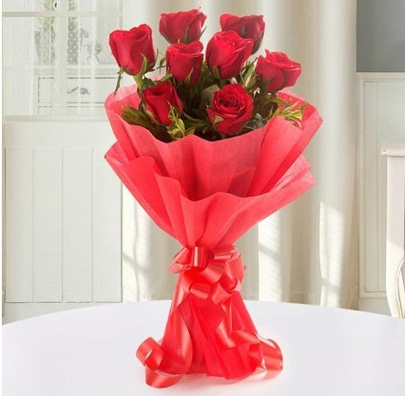 8 Red Roses with Paper Packing by FNP