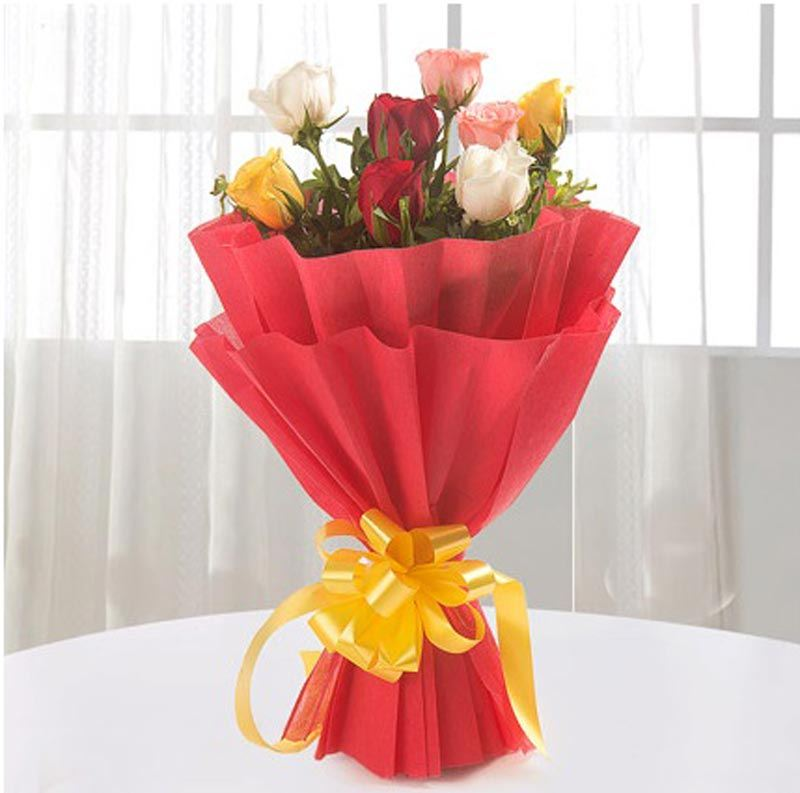 8 Mix Roses with Non Woven Paper Packing by FNP