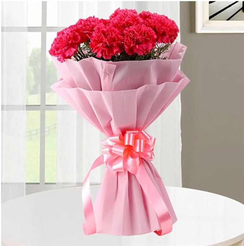 8 Red Carnation with Pink Paper Packing by FNP
