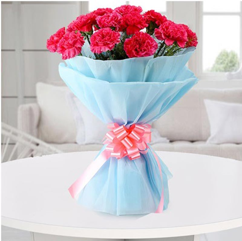 12 Pink Carnation with Blue Non Woven Paper Packing by FNP