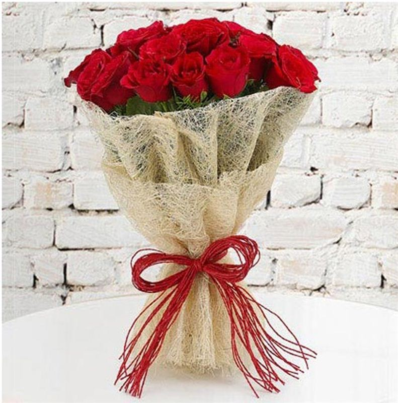 20 Red Roses with Jute Packing by FNP