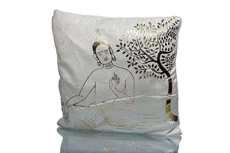 Buddha Printed White Cushion Cover (Set of 5) (16 X 16 Inch)