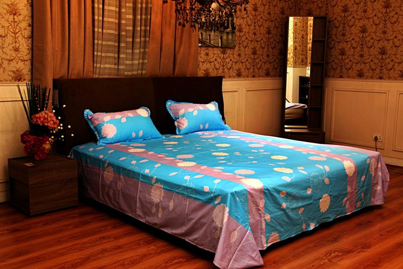 Flower Printed Bed Sheet in LT Pink and Sky Blue- Single Bed Size