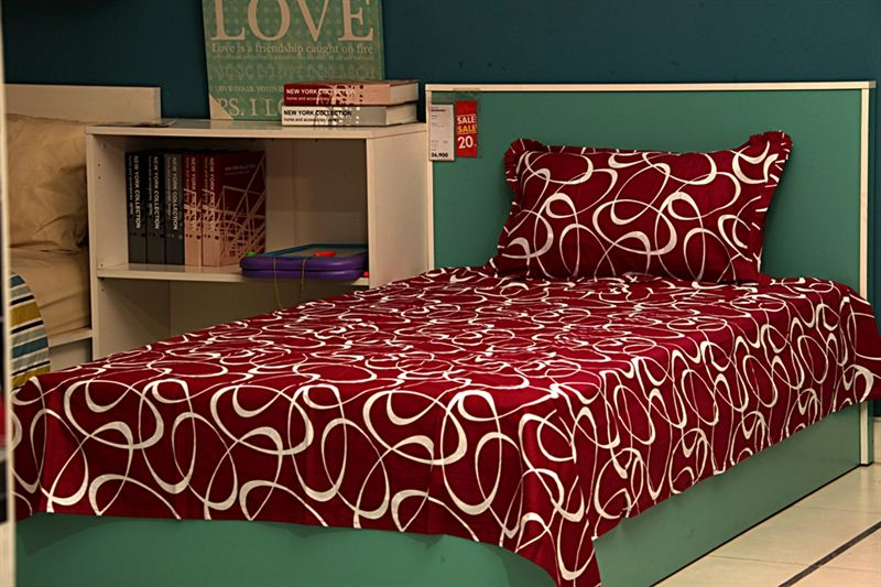 Spherical Pattern Printed Bed Sheet in Maroon- Single Bed Size