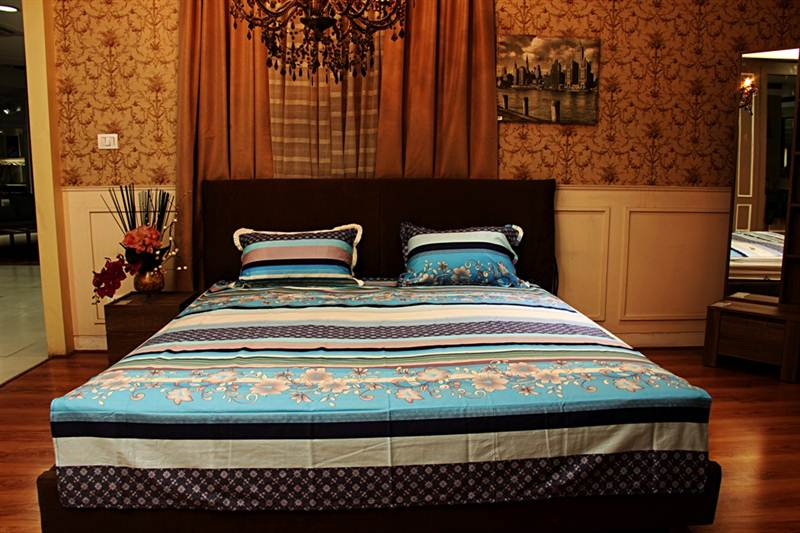 Floral Printed Bedsheet  in LT Blue-King Size