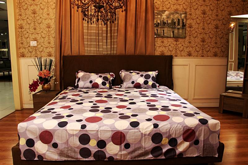 Polka Dot Printed Bedsheet in Multi color-Double Bed