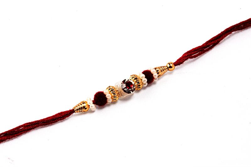 Maroon Raakhi with Crystal
