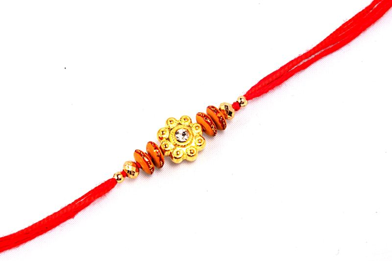 Red Raakhi with Golden Crystal