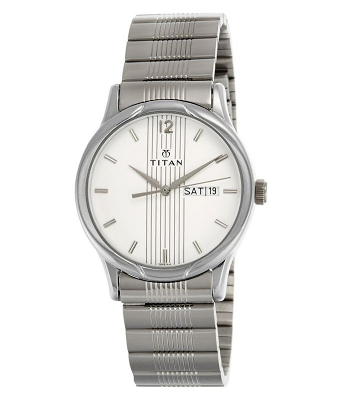 Titan Men's 1580SM03 Contemporary Silver Metal Strap Watch