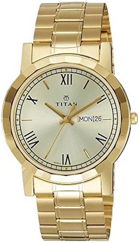 Titan Analog Gold Dial Men's Watch - 1644YM03